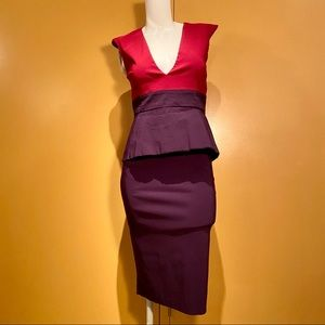 Vesper peplum deep plunge midi dress. Size 10 US.